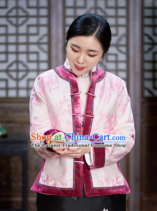 Chinese Traditional Tang Suit Pink Cotton Padded Jacket National Costume Outer Garment for Women