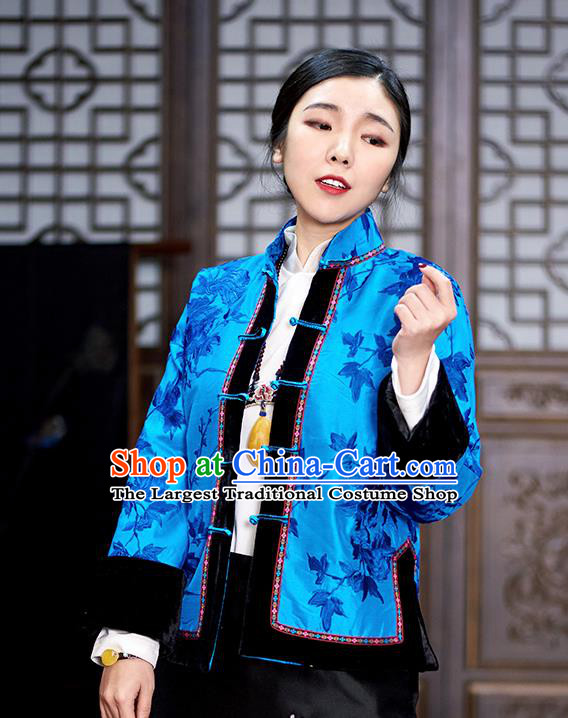 Chinese Traditional Tang Suit Blue Cotton Padded Jacket National Costume Outer Garment for Women