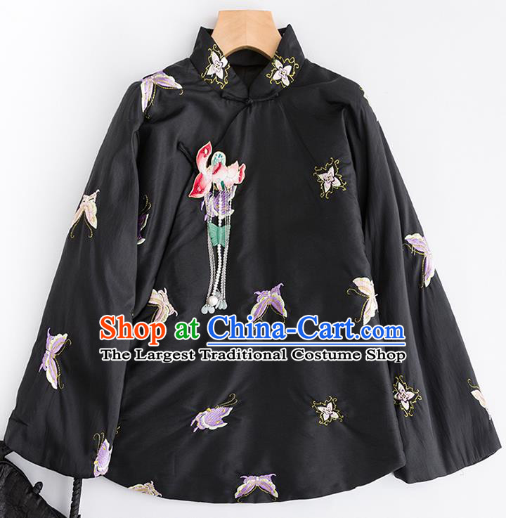 Chinese Traditional Tang Suit Embroidered Butterfly Black Cotton Padded Jacket National Costume Outer Garment for Women
