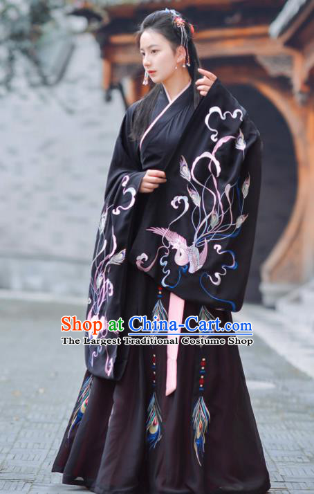 Chinese Ancient Traditional Black Hanfu Dress Jin Dynasty Court Princess Historical Costume for Women