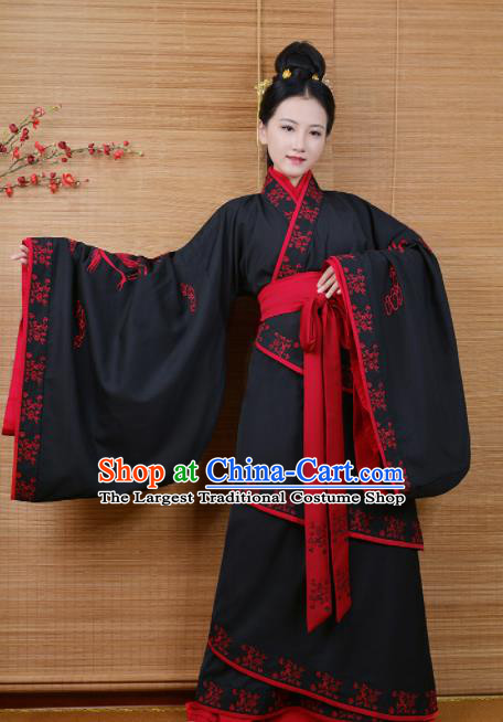 Chinese Ancient Imperial Concubine Traditional Hanfu Dress Han Dynasty Palace Embroidered Historical Costume for Women