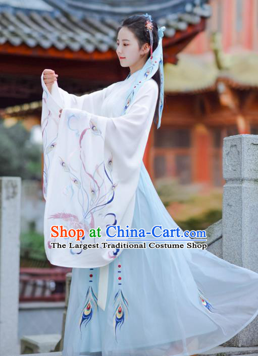 Chinese Ancient Traditional Costume Jin Dynasty Court Princess Hanfu Dress for Women