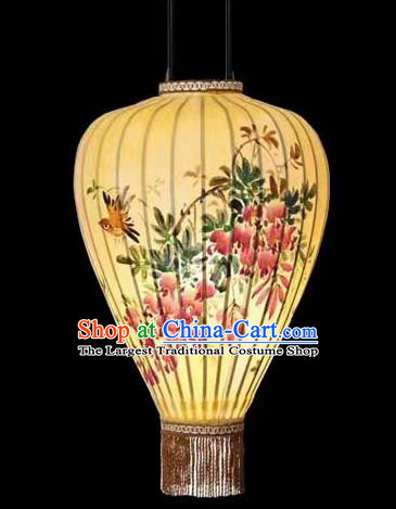 Chinese Traditional Handmade Lantern Painting Flowers Birds Palace Lanterns