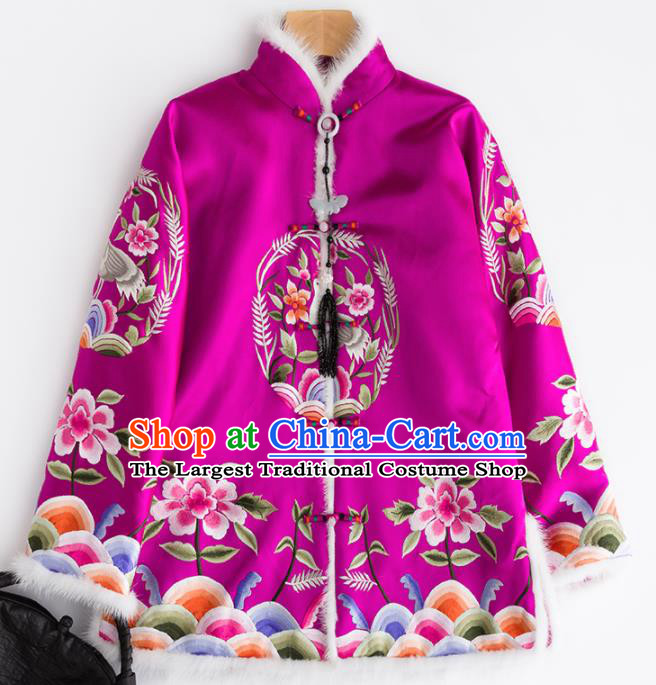 Chinese Traditional Costume National Tang Suit Rosy Cotton Padded Jacket Outer Garment for Women