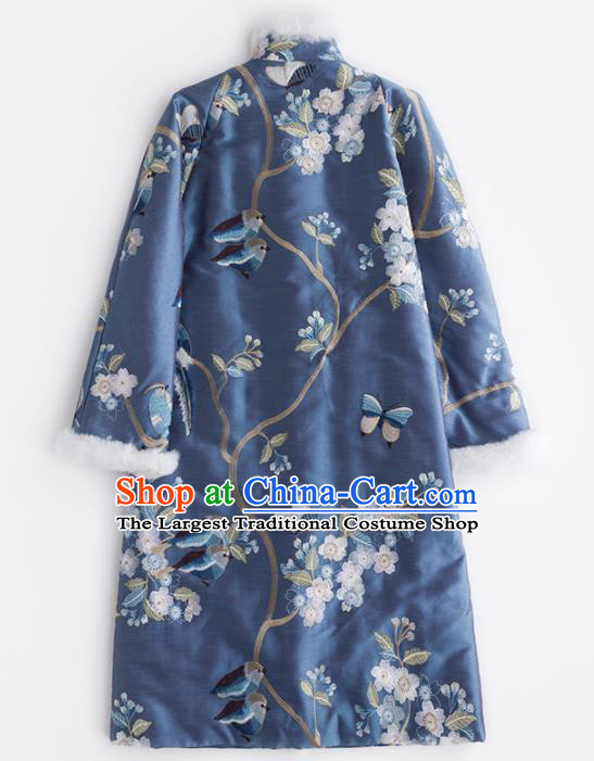Chinese Traditional Embroidered Costume National Tang Suit Blue Cotton Padded Coat Outer Garment for Women