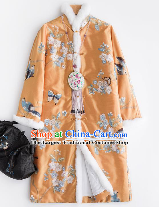 Chinese Traditional Embroidered Costume National Tang Suit Yellow Cotton Padded Coat Outer Garment for Women