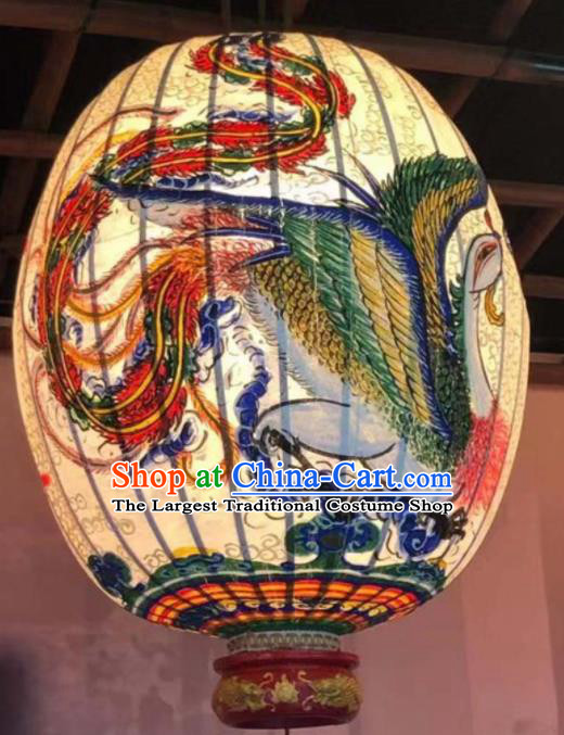 Chinese Traditional New Year Hanging Lantern Handmade Painting Phoenix Palace Lanterns
