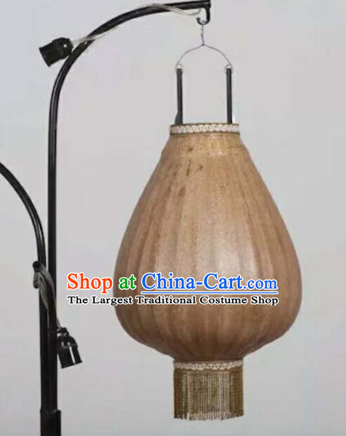 Chinese Traditional New Year Hanging Lantern Handmade Brown Urn Shape Palace Lanterns