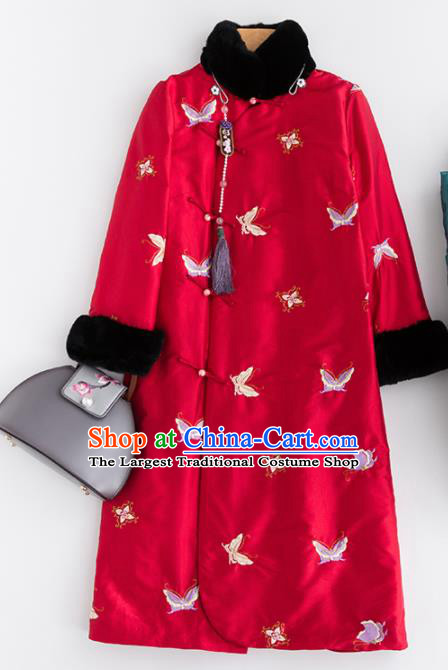Chinese Traditional Costume National Tang Suit Embroidered Butterfly Red Coat Outer Garment for Women