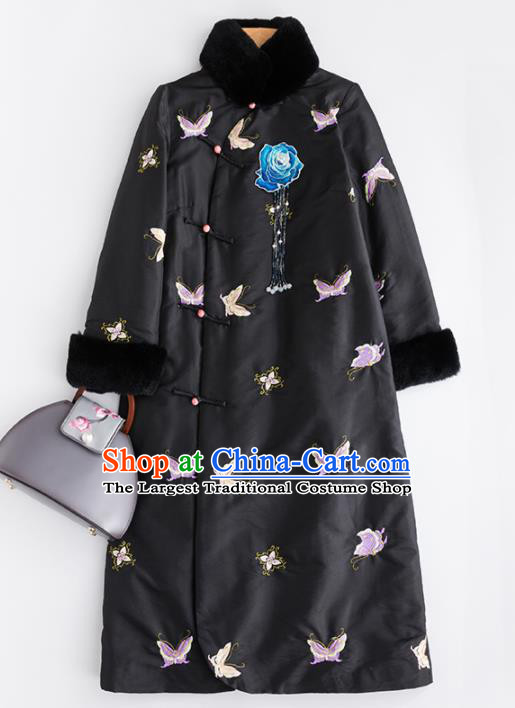 Chinese Traditional Costume National Tang Suit Embroidered Butterfly Black Coat Outer Garment for Women