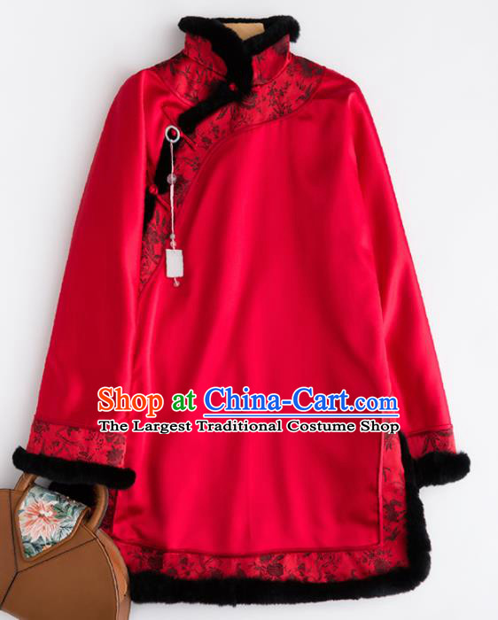 Chinese Traditional Costume National Tang Suit Red Jacket Embroidered Outer Garment for Women