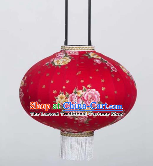 Chinese Traditional Printing Peony Flowers Red Hanging Lantern Handmade Craft New Year Palace Lanterns