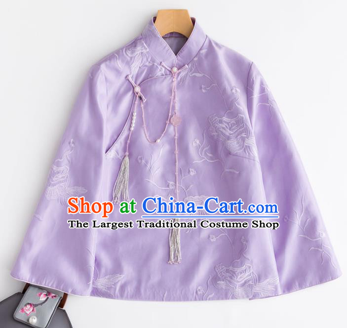 Chinese Traditional National Costume Tang Suit Outer Garment Embroidered Purple Blouse for Women