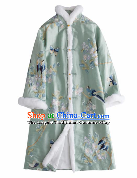 Chinese Traditional National Costume Tang Suit Outer Garment Green Dust Coat for Women