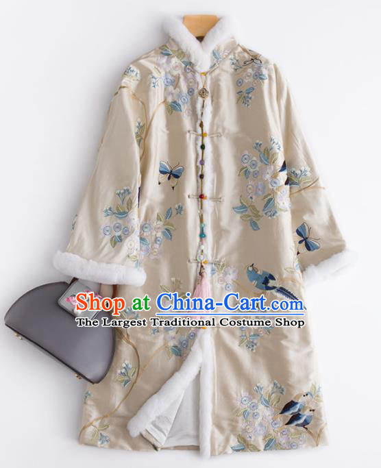 Chinese Traditional National Costume Tang Suit Outer Garment Beige Dust Coat for Women