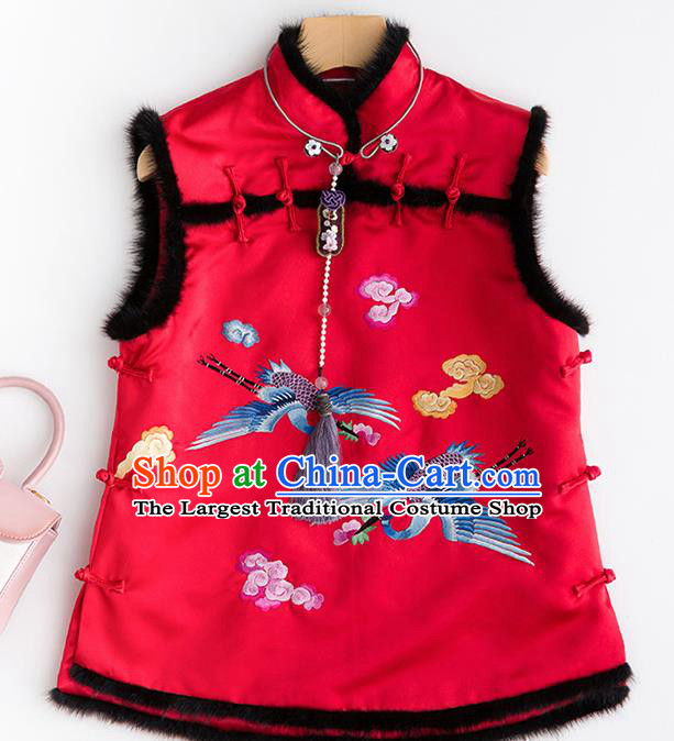 Traditional Chinese National Costume Embroidered Cranes Red Vest Tang Suit Waistcoat for Women