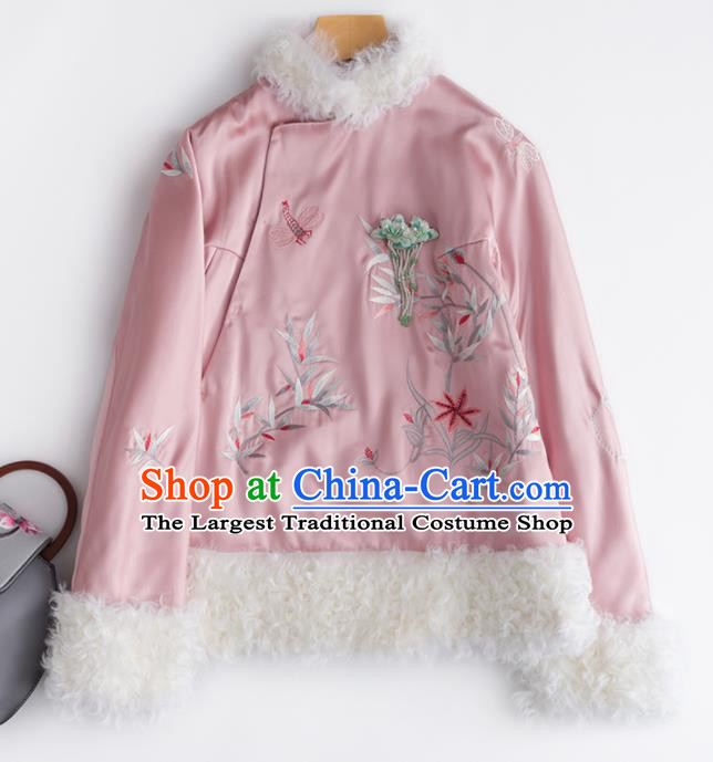 Chinese Traditional National Costume Tang Suit Outer Garment Embroidered Pink Short Coat for Women