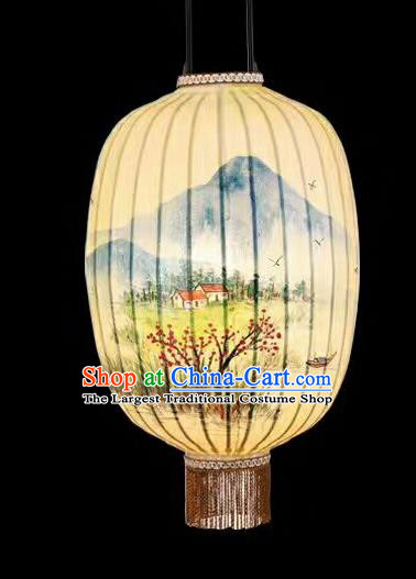 Chinese Traditional Ink Painting Plum Blossom Lantern Handmade New Year Palace Lanterns