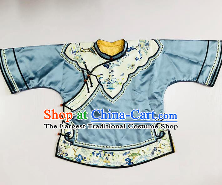 Chinese Traditional National Costume Tang Suit Upper Outer Garment Blue Silk Blouse for Women