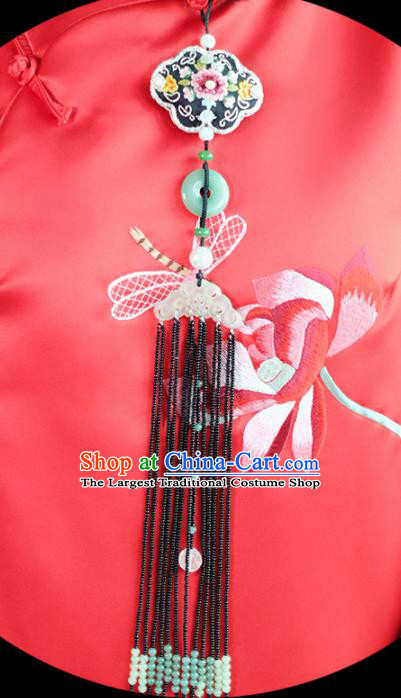 Chinese Traditional Jewelry Accessories Classical Embroidered Pressure Front Tassel Brooch for Women