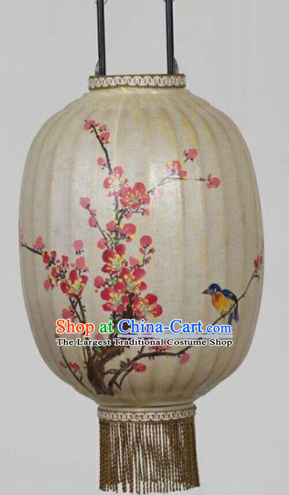 Chinese Traditional Ink Painting Plum Blossom Bird Lantern Handmade New Year Palace Lanterns