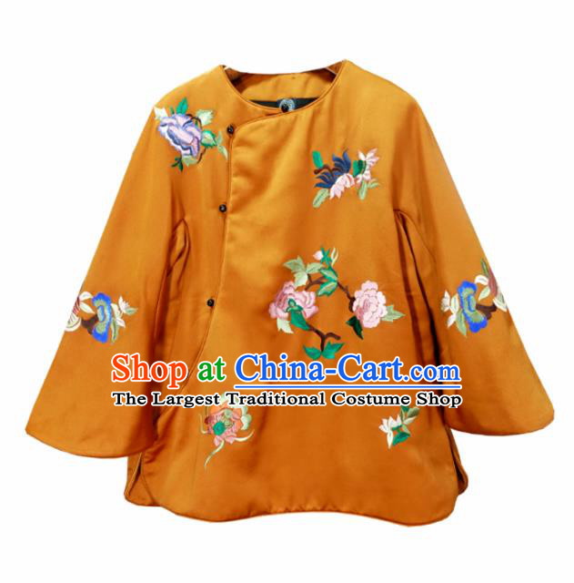 Chinese Traditional Costume National Tang Suit Orange Cotton Padded Jacket Outer Garment for Women