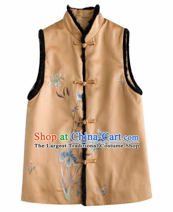 Traditional Chinese National Costume Yellow Vest Tang Suit Waistcoat for Women