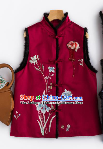 Traditional Chinese National Costume Wine Red Vest Tang Suit Waistcoat for Women