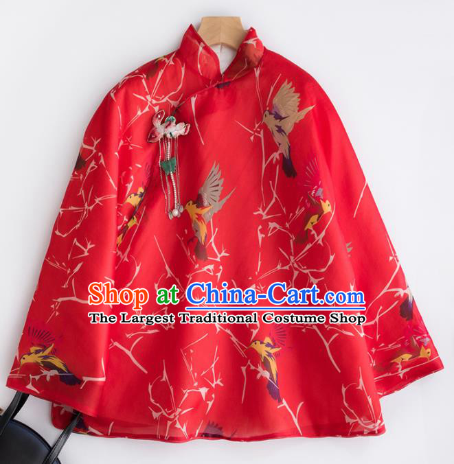 Chinese Traditional Costume National Tang Suit Red Cotton Padded Jacket Outer Garment for Women