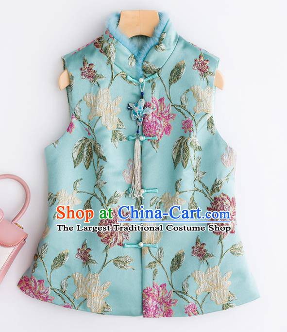 Traditional Chinese National Costume Winter Light Blue Vest Tang Suit Waistcoat for Women