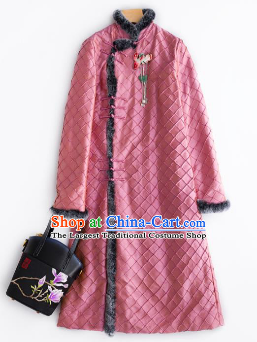 Chinese Traditional Costume National Tang Suit Pink Cotton Padded Coat Outer Garment for Women