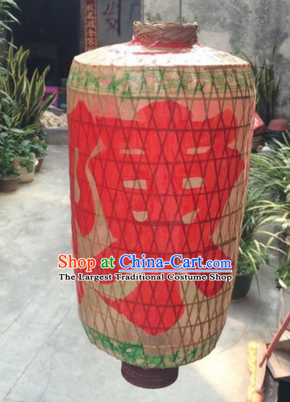 Chinese Traditional Hanging Lantern Handmade Bamboo Weaving Painting Palace Lanterns