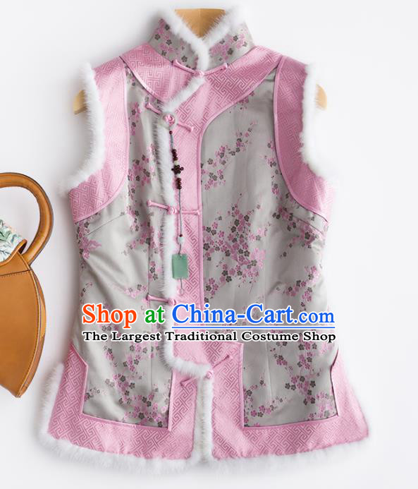 Traditional Chinese National Costume Winter Grey Brocade Vest Tang Suit Waistcoat for Women