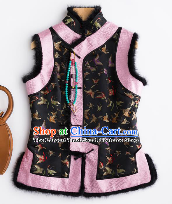 Traditional Chinese National Costume Winter Black Brocade Vest Tang Suit Waistcoat for Women