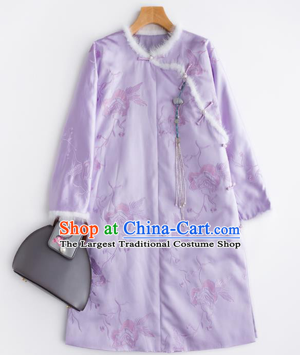 Chinese Traditional Costume National Tang Suit Slant Opening Lilac Coat Outer Garment for Women