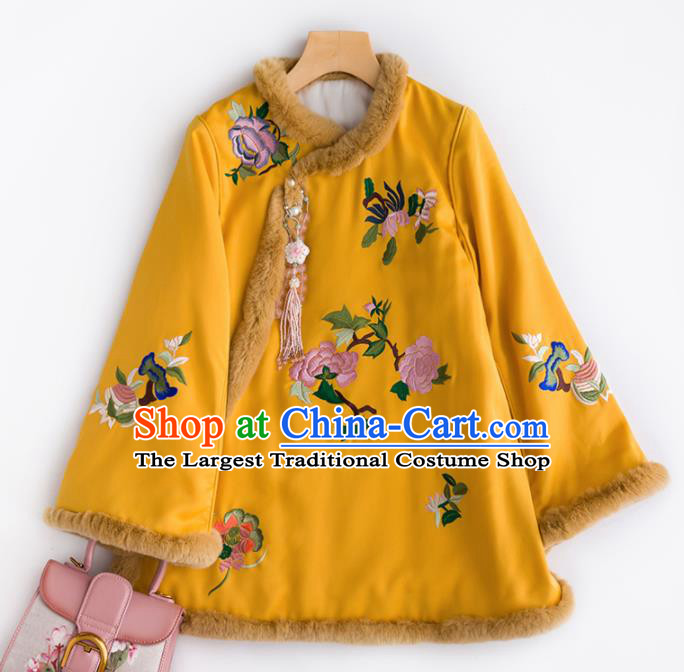 Chinese Traditional Costume National Tang Suit Embroidered Peony Yellow Cotton Padded Jacket for Women