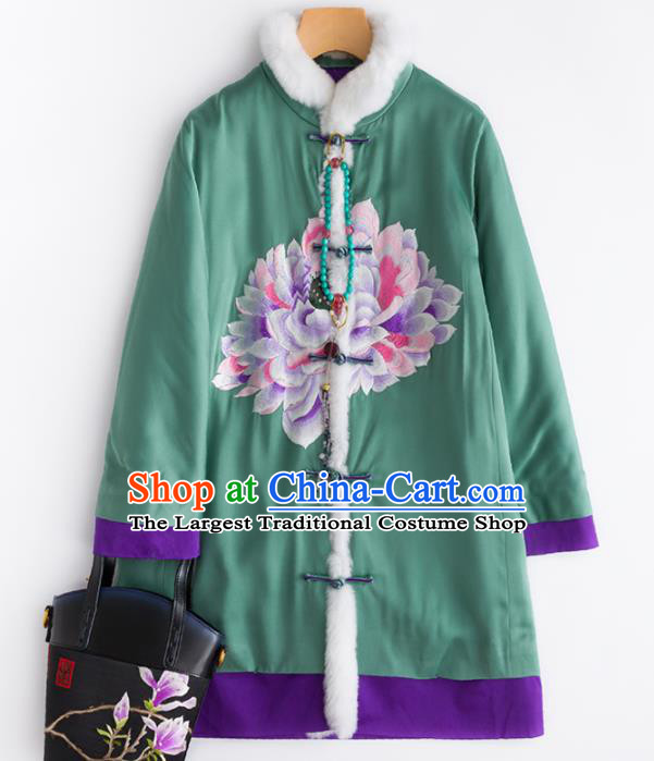 Chinese Traditional Costume National Tang Suit Embroidered Green Cotton Padded Jacket for Women