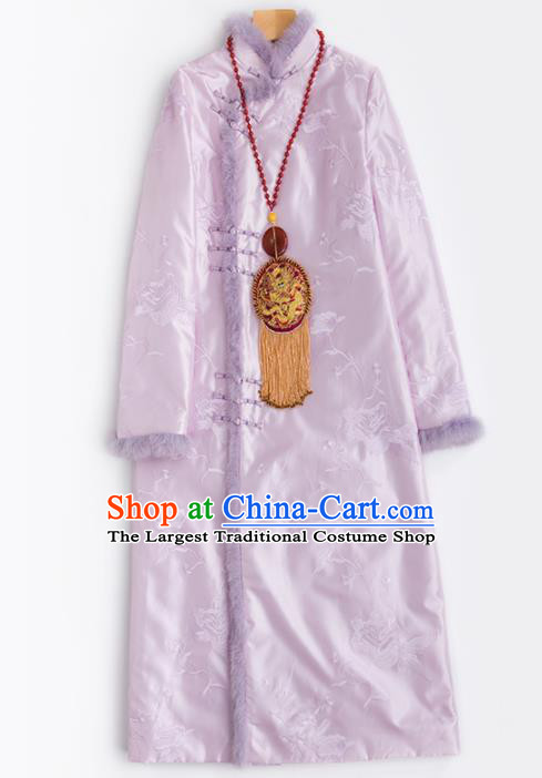 Chinese Traditional National Costume Tang Suit Embroidered Pink Cotton Padded Coat for Women