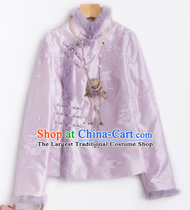 Chinese Traditional National Costume Tang Suit Embroidered Pink Cotton Padded Jacket for Women