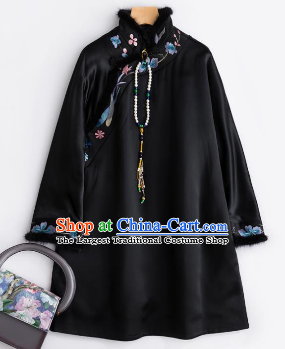 Chinese Traditional National Costume Tang Suit Upper Outer Garment Black Blouse for Women