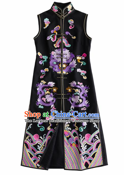 Chinese Traditional National Costume Tang Suit Cheongsam Embroidered Black Qipao Dress for Women