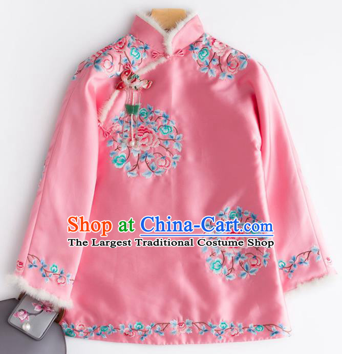 Chinese Traditional National Costume Tang Suit Upper Outer Garment Embroidered Peony Pink Blouse for Women