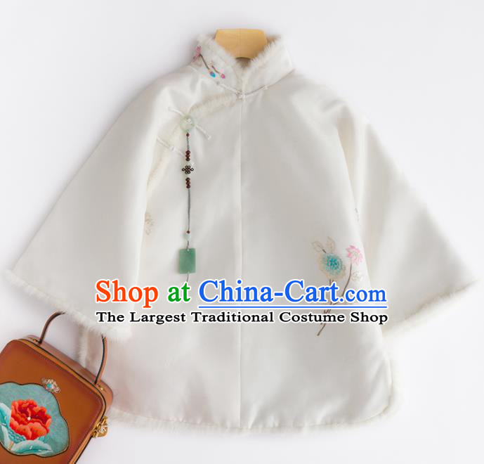 Chinese Traditional National Costume Tang Suit Upper Outer Garment Embroidered White Shirts for Women
