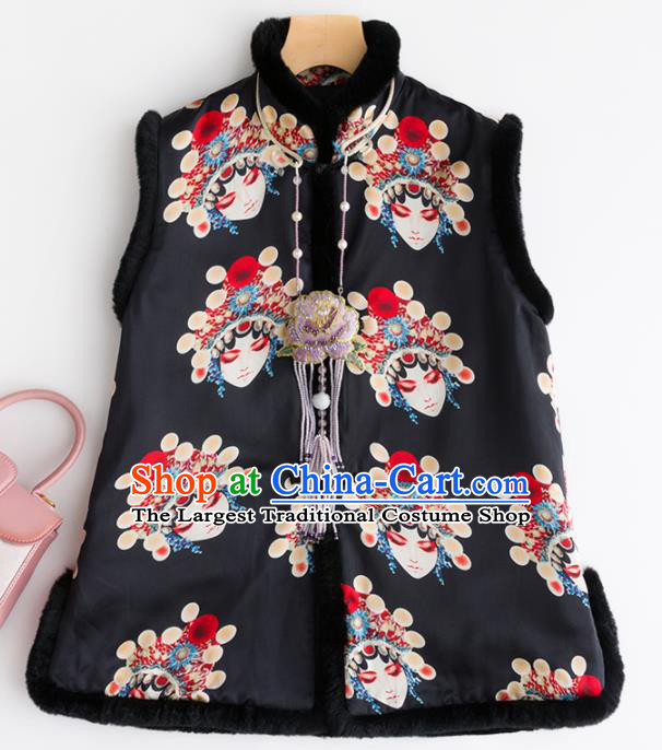 Traditional Chinese National Costume Facial Makeup Brocade Vest Tang Suit Black Waistcoat for Women