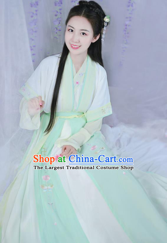 Chinese Ancient Peri Traditional Hanfu Dress Song Dynasty Aristocratic Lady Historical Costume for Women