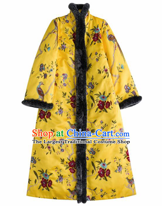 Chinese Traditional National Costume Tang Suit Embroidered Rhododendrons Cotton Padded Coat for Women