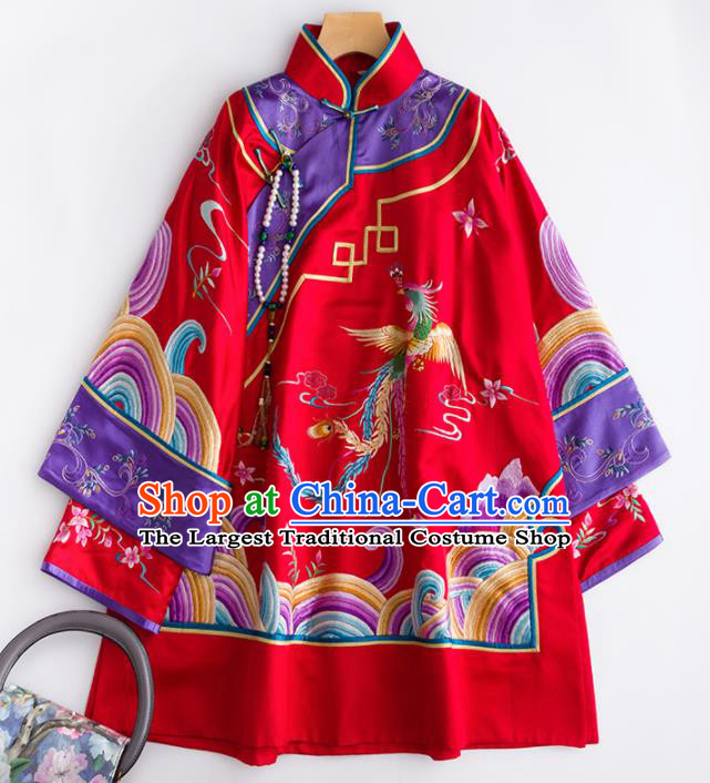 Chinese Traditional National Costume Tang Suit Embroidered Red Silk Blouse for Women