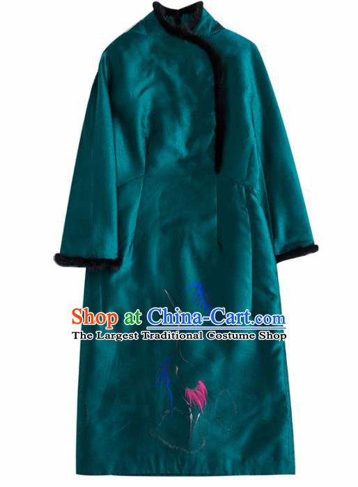 Chinese Traditional National Costume Tang Suit Embroidered Deep Green Dust Coat for Women