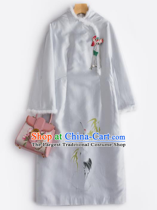 Chinese Traditional National Costume Tang Suit Embroidered Light Grey Dust Coat for Women
