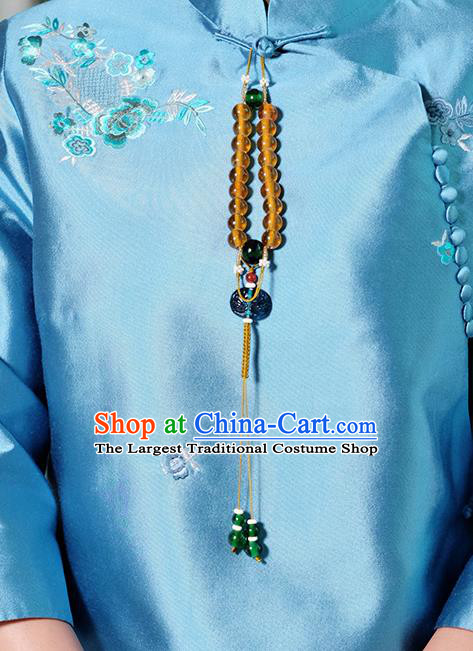 Chinese Traditional Jewelry Accessories Classical Pressure Front Grass Beads Tassel Brooch for Women